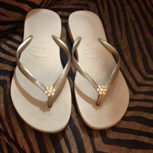 Havaianas flip flops with crystal detail